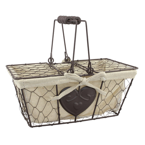 Farmhouse Metal Chicken Wire Picnic Basket | Stonebriar Collection