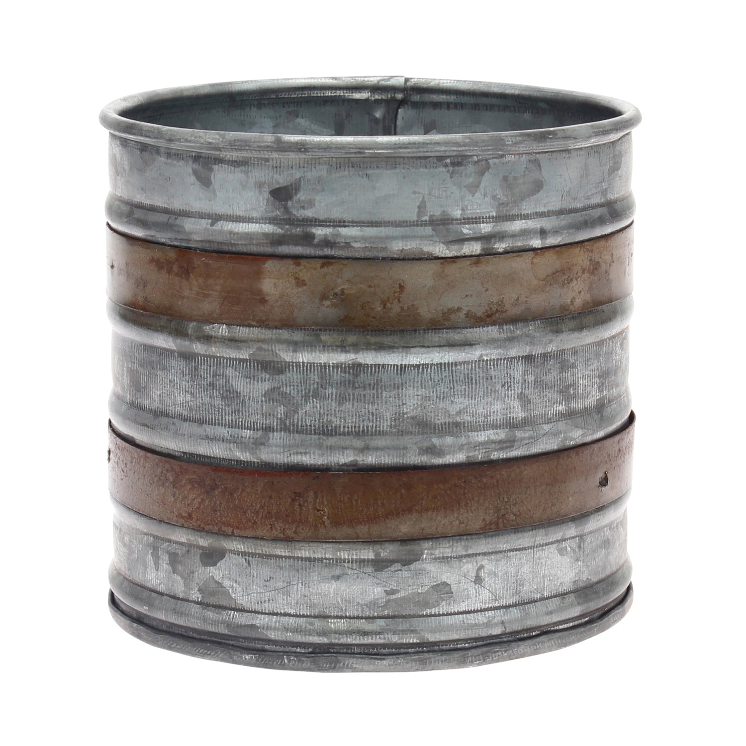 Rustic Metal Container with Rust Trim | Stonebriar Collection