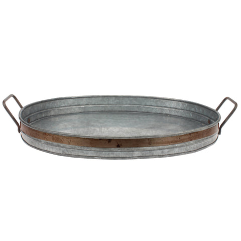 Rustic Galvanized Metal Serving Tray with Rust Trim and Metal Handles | Stonebriar Collection