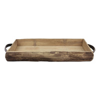Rustic Wood Serving Tray with Handles | Farmhouse Decor | Stonebriar Collection