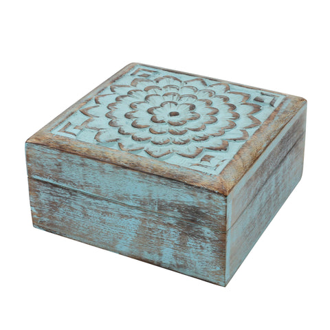 Sky Blue Wooden Box | Rustic Home Decor | Stonebriar Collection