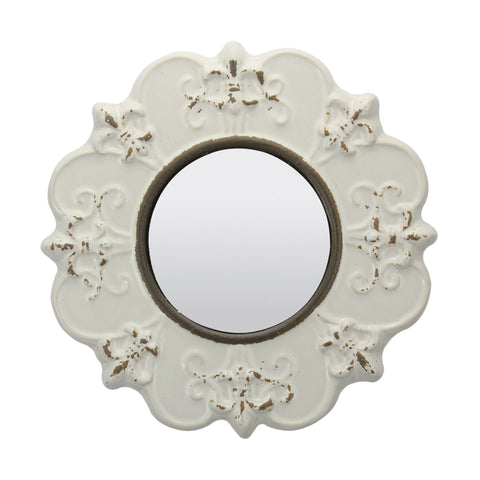 White Ceramic Mirror | Stonebriar Collection