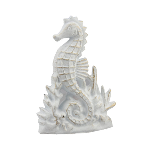 Nautical White Seahorse Cast Iron Door Stopper