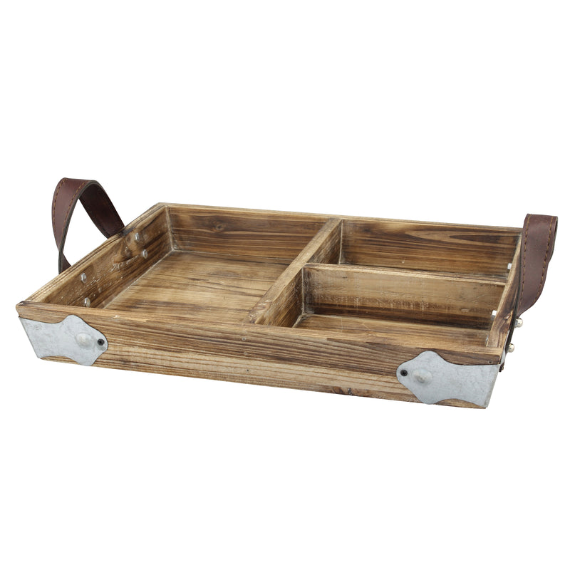 Wood Serving Tray with Leather Handles | Stonebriar Collection