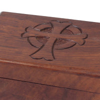 Natural Wooden Box with Carved Cross & Hinged Lid