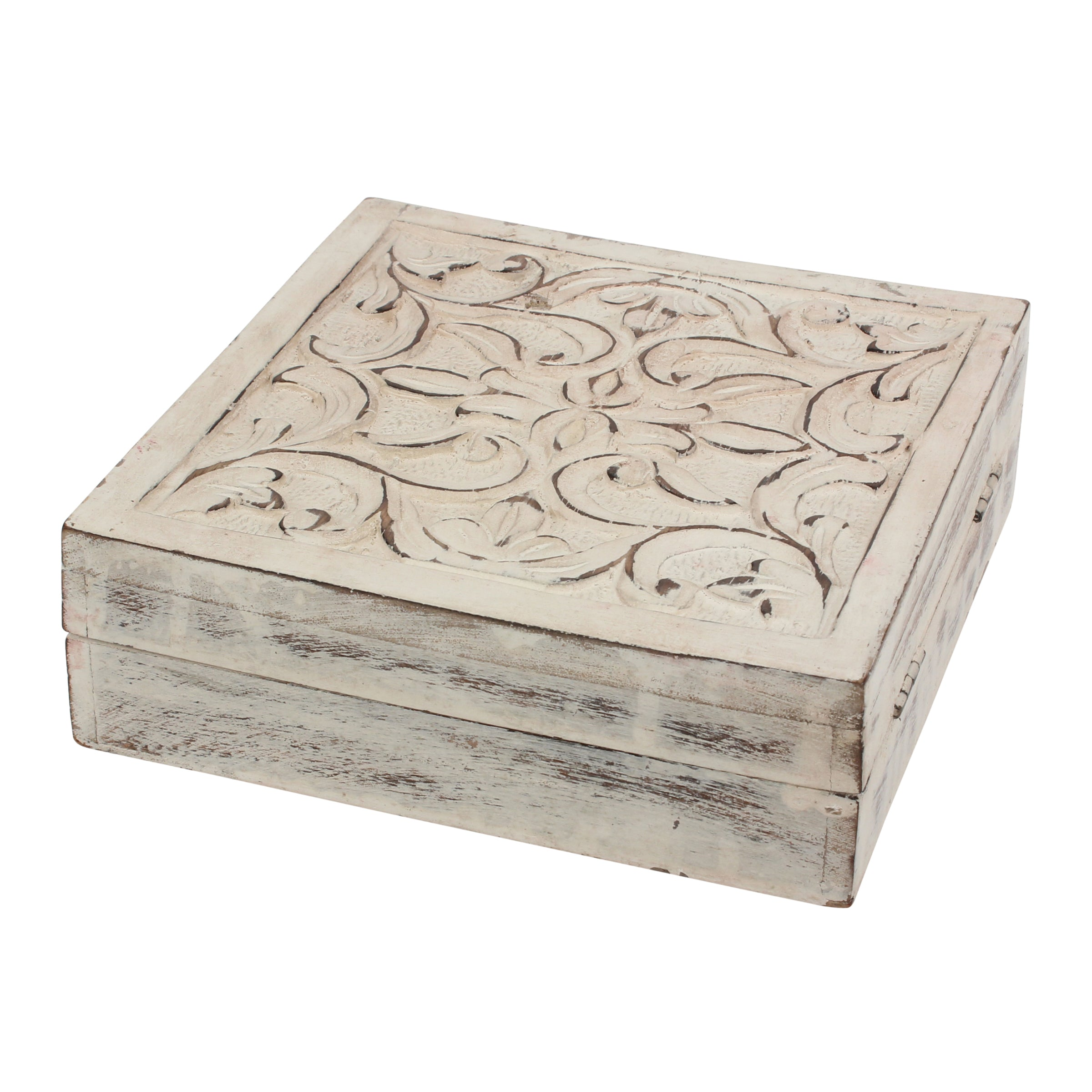 Worn White Wood Box | Rustic Home Decor | Stonebriar Collection