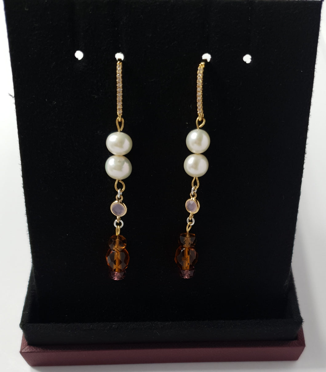 The 'Double Link' Amber Earrings