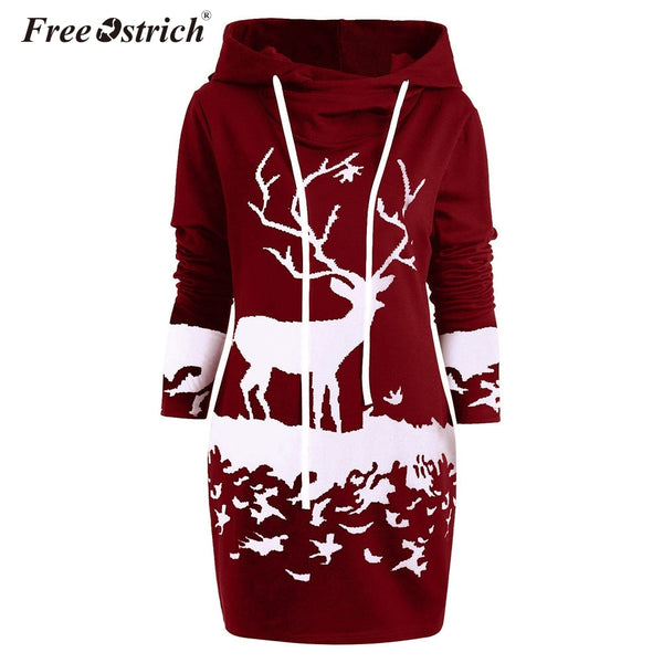 Ostrich Christmas Dress Women Hooded Long Sleeve