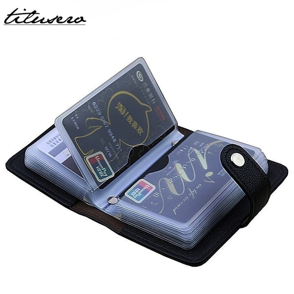Fashion PU Leather Function 24 Bits Card Case Business Card Holder Men Women Credit Passport Card Bag ID Passport Card Wallets