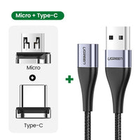 UGREEN Magnetic Charge Cable Fast Charging USB Type C Cable Magnet Micro USB Data Charging Wire Mobile Phone Cable USB Cord