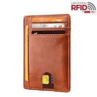 Genuine Leather RFID Men Wallet Anti-theft Brush Solid Cowhide Coin Purse Multi-card Position Multi-card Position Card Holder