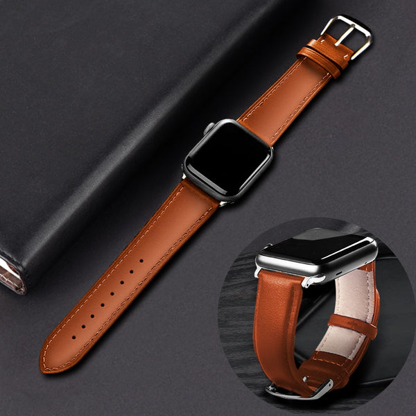 Brown Leather Band Loop Strap For Apple Watch