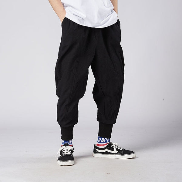 MrGoldenBowl Store Men Harem Pants Japanese Casual Cotton Linen Trouser Man Jogger Pants Chinese Baggy Pants