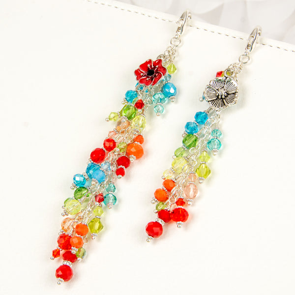 Poppy Fields Planner Charm with Crystal Dangle - Available in Two Lengths