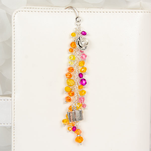 Coffee Cup and Book Charm with Orange, Yellow, Pink and Berry Crystal Dangle
