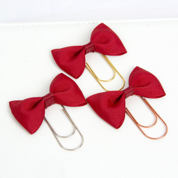 Cranberry Red Ribbon Bow Planner Paperclip in Silver, Gold or Rose Gold