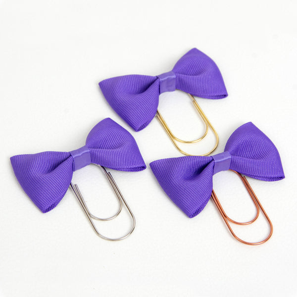 Purple Grosgrain Ribbon Bow planner clip in silver, gold or rose gold
