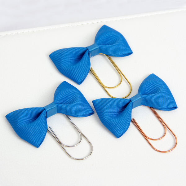 Blue Bow Planner Clip with Grosgrain ribbon and wide paper clips in silver, gold or rose gold