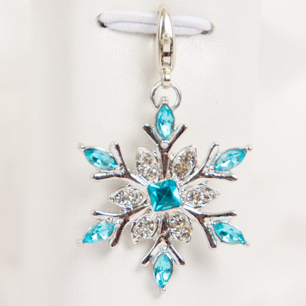 Blue Crystal Snowflake Charm or Stitch Marker