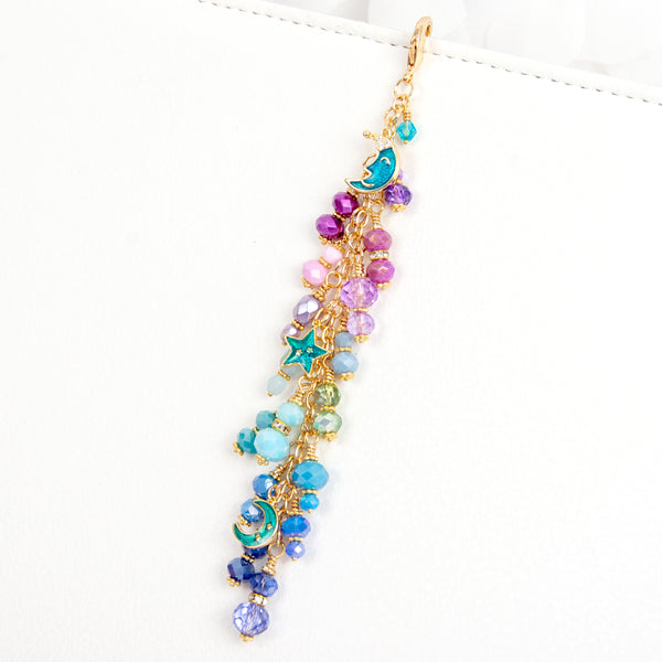 Galaxy Charm with Enamel Moon and Star Charms in Gold with Purple, Aqua and Blue Ombre Dangle