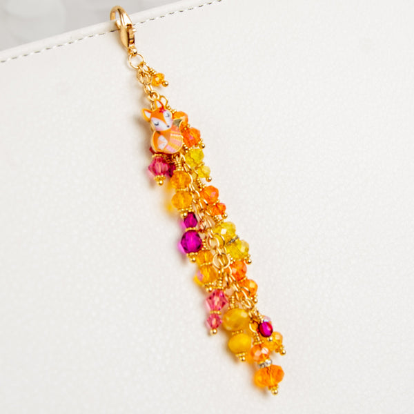 Sweet Enamel Fox Dangle Planner Charm with Orange, Yellow, Pink and Magenta Crystal Dangle