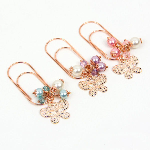 Rose Gold Butterfly Planner Dangle Clip Bookmarks