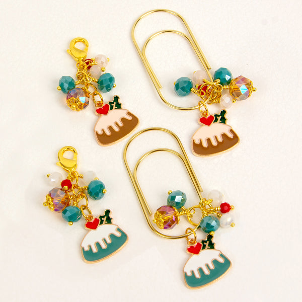 Iced Holiday Cake Charm or Dangle Clip in either Cyan or Brown