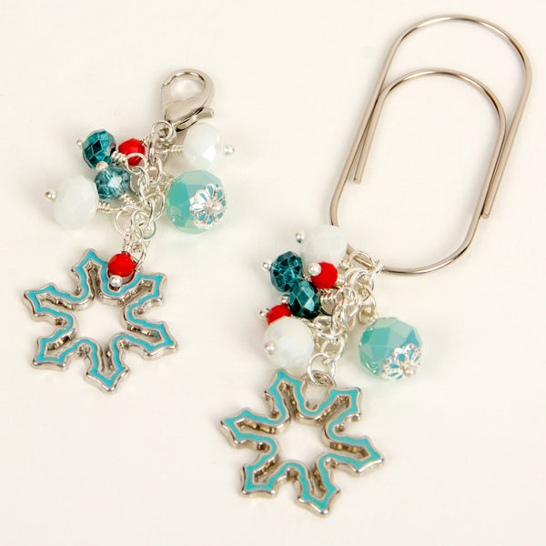Aqua Enamel Snowflake Dangle Clip and Charm