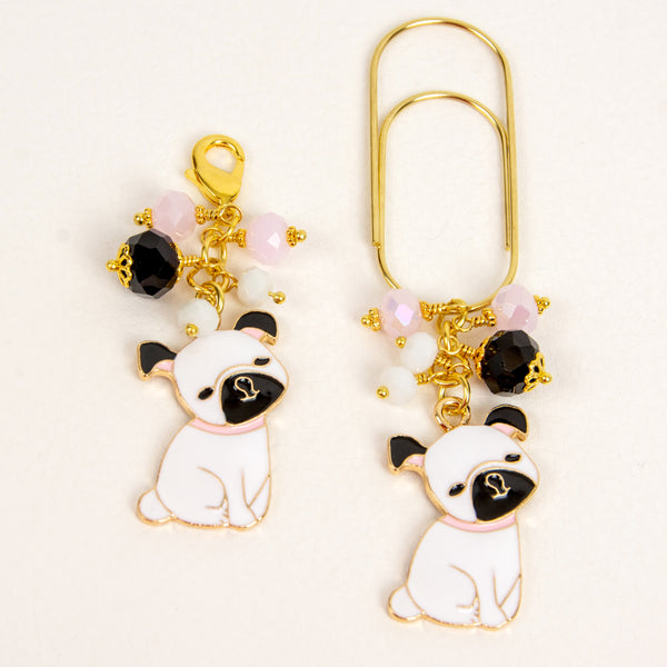 Enamel Bulldog Planner Clip and Charm