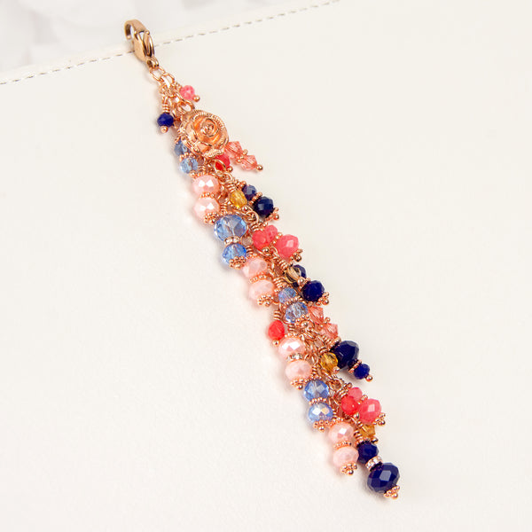 Blush and Navy Dangle Planner Charm with Blue, Peach and Pink Crystals with Rose Gold Hardware