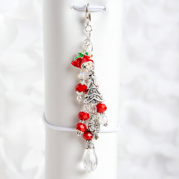 Christmas Planner Charm with Enamel Bells, Tree and Wreath Charms in Red Crystal Dangle