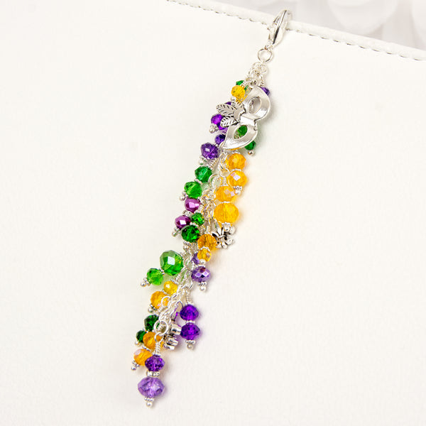 Masquerade Charm with Mask and Fleur de lis Charms and Purple, Yellow and Green Crystal Dangle