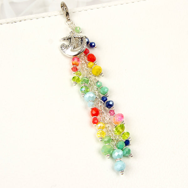 Planner Dangle Charm with Sloth and Rainbow Crystal Dangle