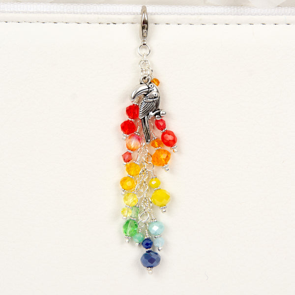 Toucan Dangle Planner Charm with Rainbow Crystals