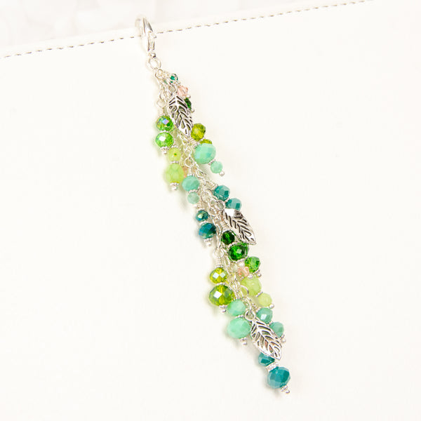 Tranquility Silver Leaf Planner Charm with Green Crystal Dangle