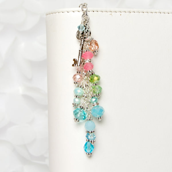 Pastel Rainbow Charm with Silver Key