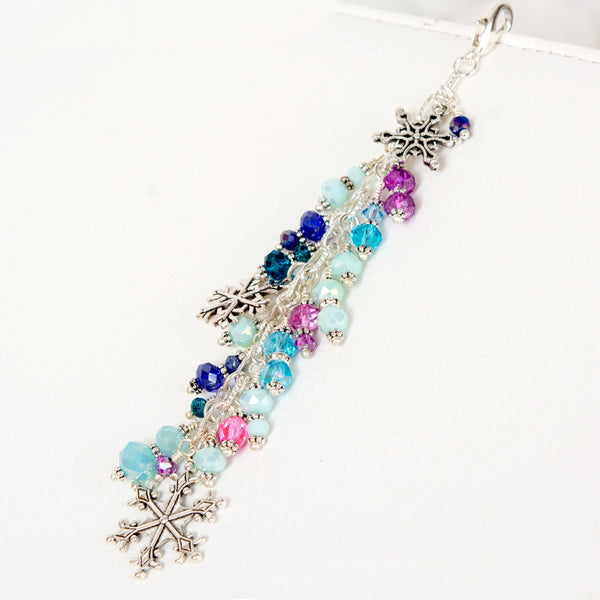 Frozen Winter Planner Charm with Blue, Aqua, Teal. Pink and Purple Crystal Dangle