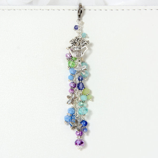 Watering Can Bouquet Planner Charm with Purple, Aqua and Green Crystal Dangle