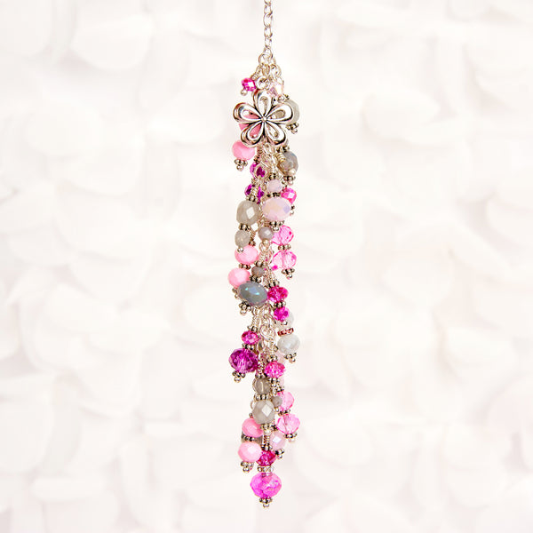 Pink and Gray Crystal Dangle Charm