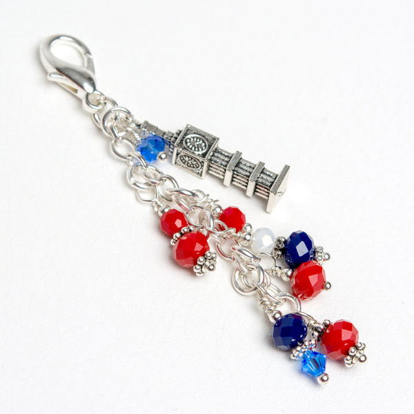 Big Ben London Charm with Blue, White and Red Crystals