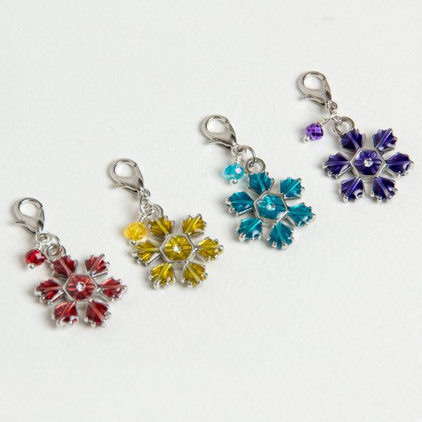 Enamel Snowflake Charms with Crystal Accent - Choose from Red, Yellow, Blue or Purple