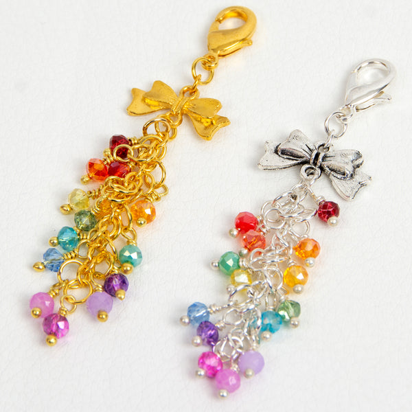 Rainbow Crystal Dangle Charm with Silver or Gold Ribbon Connector