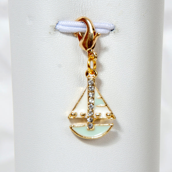 Sailboat Charm with Rhinestone Accents