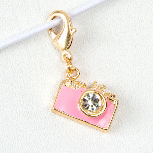 Pink Enamel Camera Charm with Rhinestone Lens