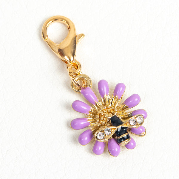 Purple Flower and Bee Travelers Notebook Charm or Stitch Marker