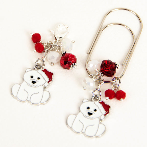 Cute enamel polar bear dangle clip or charm with red and white crystals