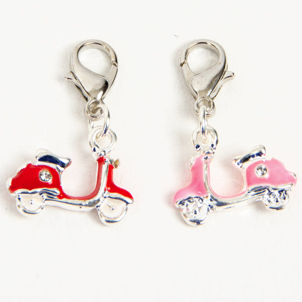 Enamel Moped Scooter Charm in Red or Pink with Rhinestone Accents