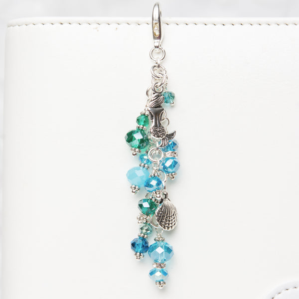 Mermaid Dangle Planner Charm with Blue and Green Crystals