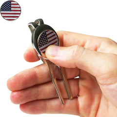 Divot Tool with Magnetic Ball Marker - Nickel (American Flag)
