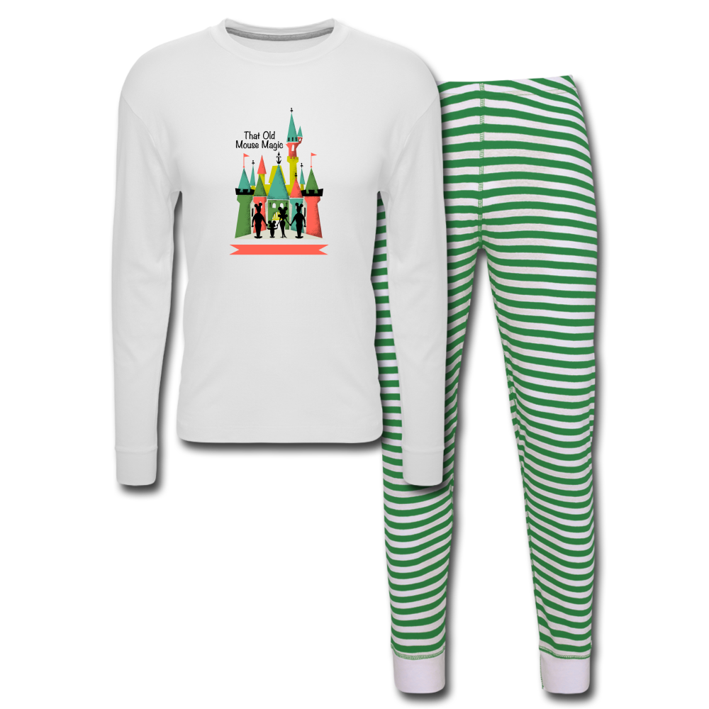 Unisex Pajama Set - white/green stripe